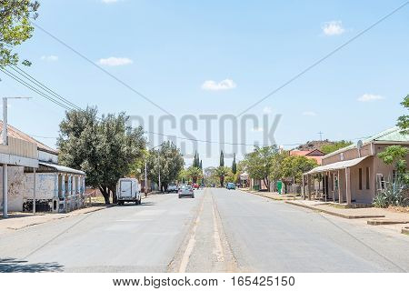 FAURESMITH SOUTH AFRICA - DECEMBER 31 2016: A street scene in Fauresmith a small town in the Free State Province