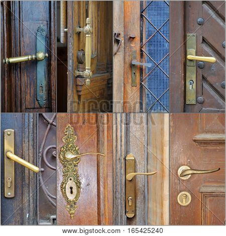 A collage of photos on door handles .