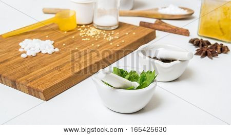Herbs And Other Ingredients For Making Homemade Cosmetics.
