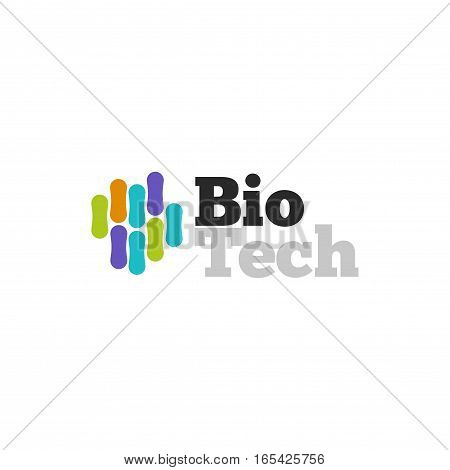 Biotech logo vector symbol, biotechnology logotype with abstract colorful molecular structure isolated on white background, genetic microorganism
