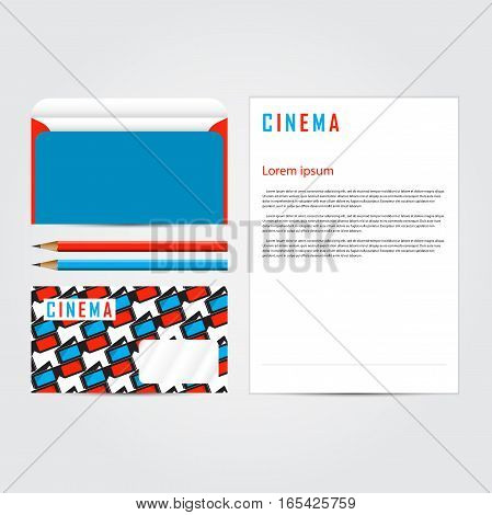 Cinema 3d corporate concept identity template set. Business stationery mock-up. Branding design. Letter envelope, card, banner, label, pen, pencil, badge,  letterhead. Vector illustration.
