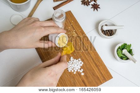 Woman Is Preparing Home Made Cosmetics Or Makeup.