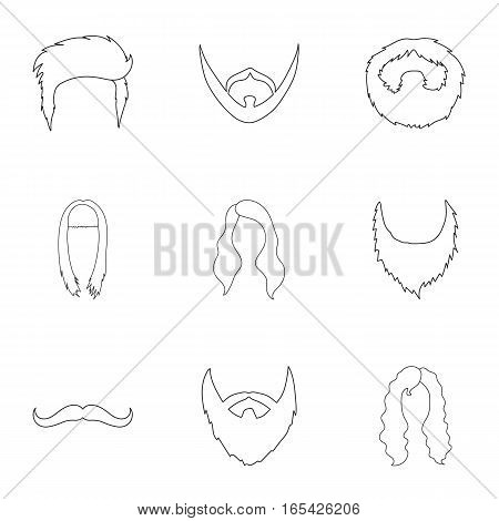 Beard set icons in outline style. Big collection of beard vector symbol stock