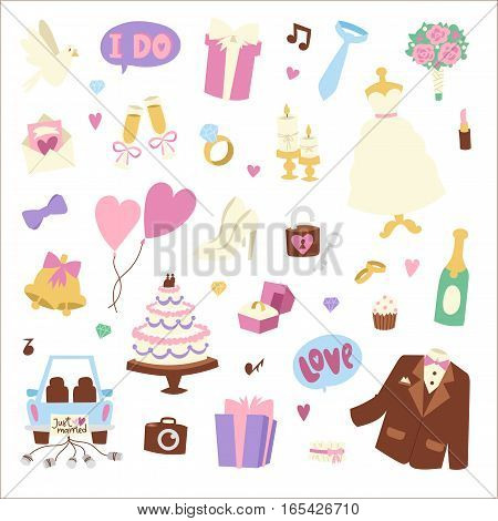 Wedding cartoon icons vector illustration. Married celebration music groom invitation elements. Ceremony of love bride gift diamond ring collection.