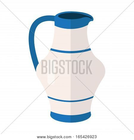 White blue jug vector icon illustration. Water jug or coffee-pot symbol in hebrew colors. Ceramic pottery container. Jar or vase sign.