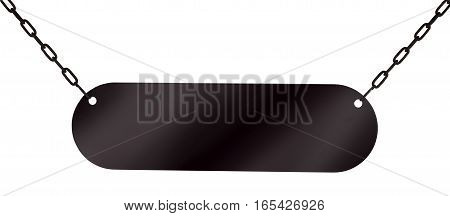 Signboard hanging on chains isolated on white background