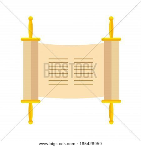 Torah scroll or Pentateuch vector illustration. Holiday of Hanukkah element. Jewish symbol for celebration of Chanukah or Festival of Lights. Feast of Dedication icon or festivity item.