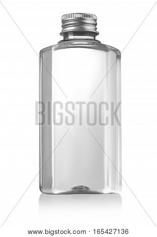 Beautiful Clear Bottle with clear liquid on white background with clipping path