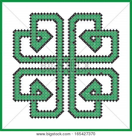 Celtic  endless knot in square clover  shape in black and green cross stitch pattern on white and black background inspired by Irish St Patricks day and ancient Scottish culture