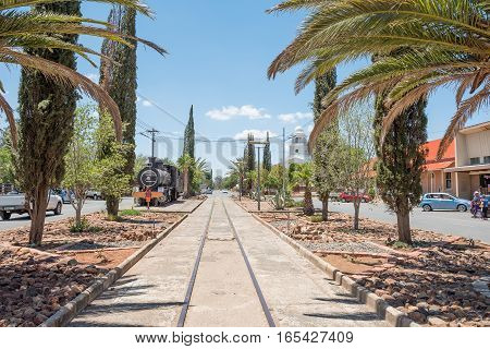 FAURESMITH SOUTH AFRICA - DECEMBER 31 2016: Fauresmith is one of only three towns on earth where the railway line runs down the centre of the main road