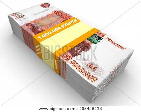 Money for the purchase of real estate. Pack of 5000 Russian rubles tied with a ribbon with the words