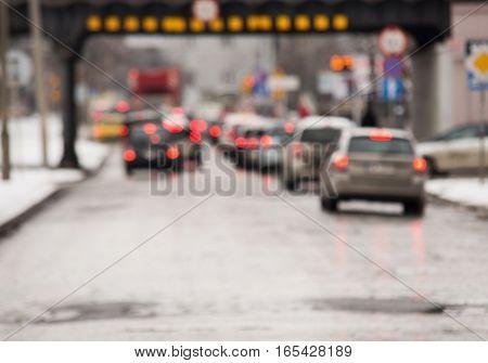 Traffic Jam In The City, Winter, Defocused Cars