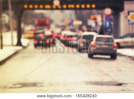 Traffic Jam In The City, Winter, Defocused Cars, Vintage Effect