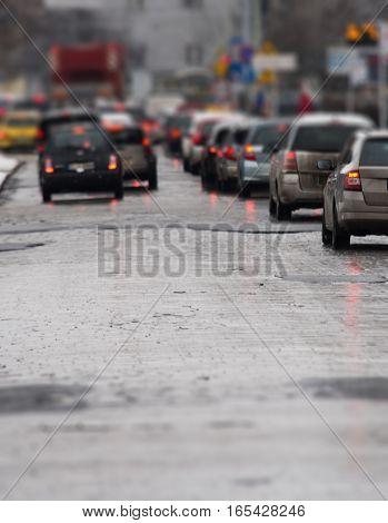 Traffic Jam In The City, Winter, Defocused Cars,