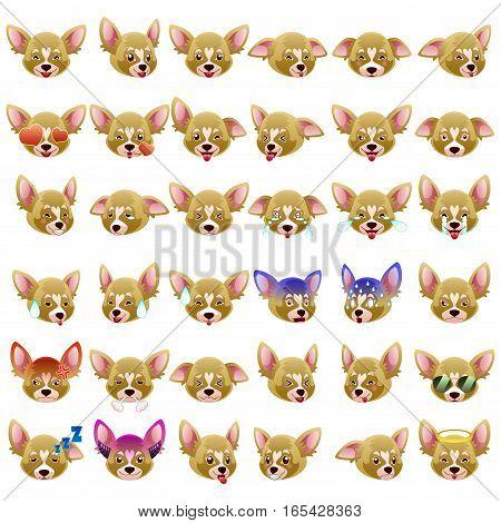 A vector illustration of Chihuahua Dog Emoji Emoticon Expression