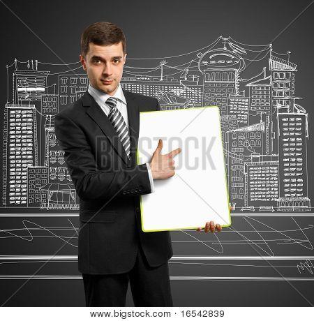 Businessman With Empty Write Board