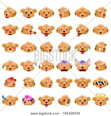 A vector illustration of Golden Retrievers Dog Emoji Emoticon Expression