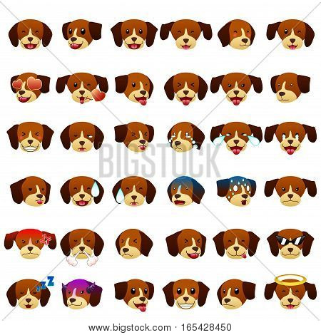 A vector illustration of Beagles Dog Emoji Emoticon Expression