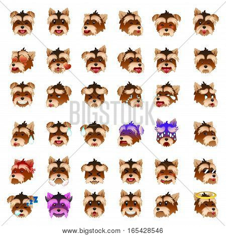 A vector illustration of Yorkshire Terriers Dog Emoji Emoticon Expression