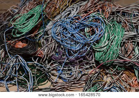 Multicoloured wire thin copper coiled cable tangle