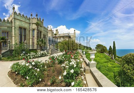 ALUPKA CRIMEA RUSSIA - JUNE 06.2016: Flowers on the southern terraces of the Vorontsov Palace. Yalta Alupka Crimea Russia