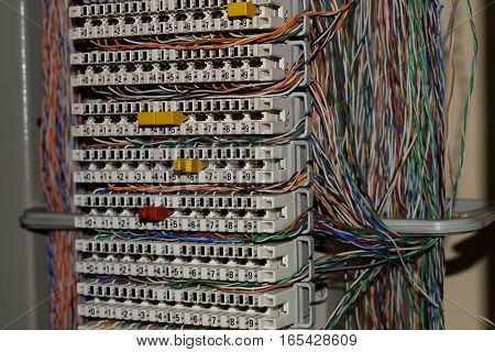 Many ip telephony cables in the server room
