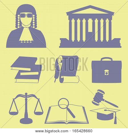 Vector illustration of law icons set in line silhouette