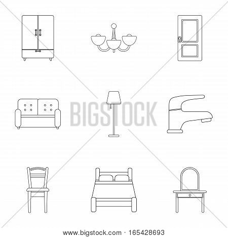 Furniture set icons in outline style. Big collection of furniture vector symbol stock