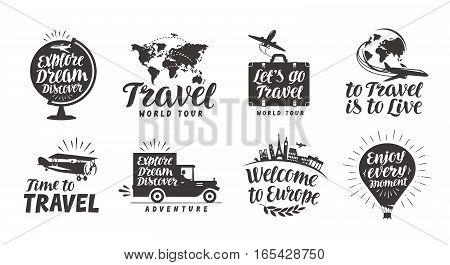 Travel set icons. Handwritten lettering. Label vector illustration isolated on white background