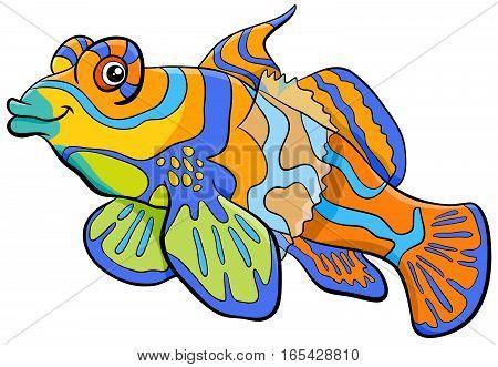 Mandarin Fish Cartoon Character