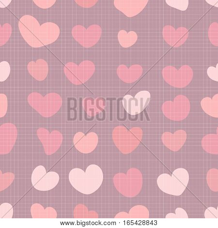 Seamless Fabric Pattern With Romantic Pink Hearts.