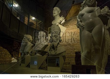STOCKHOLM, SWEDEN - JUNE 27, 2016: It is an exhibition in the City Hall Tower copies of the busts of Nobel Prize winners and sculptures on display in the Stockholm City Hall.