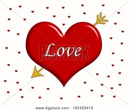 Word Love written on the big red heart with golden arrow and little red hearts around it