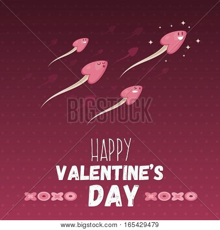 Happy Valentine Day Greeting Card With Heart Headed Sperm. Holiday Web Banner. Love Symbol Ironic Po