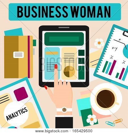 Business woman workspace concept flat vector illustration. Female hand with touchpad and table with office stuff. Top view. Banner for web shops social media commerce