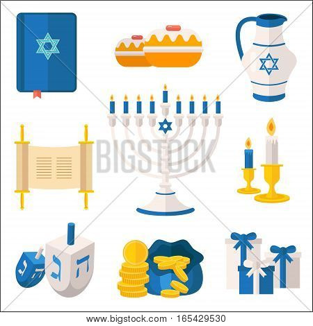 Holiday of Hanukkah vector elements collection. Jewish symbols for celebration of Chanukah or Festival of Lights. Feast of Dedication icons and festivity items including menorah candelabrum dreidel latkes tora etc.