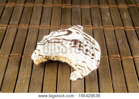 Tasty and fresh cookies isolated on vintage background. Top image.