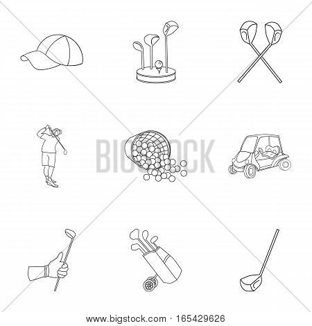 Golf club set icons in outline design. Big collection of golf club vector symbol stock illustration
