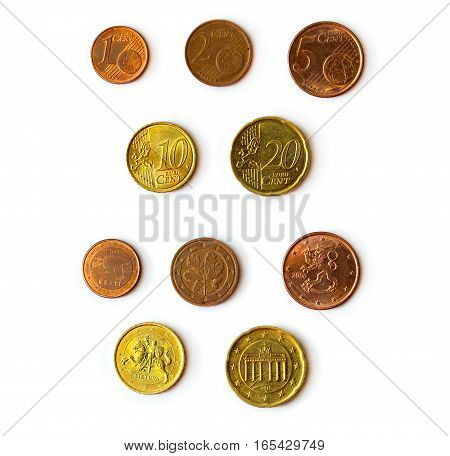 Euro cent coins set of coins denominations 1 2 5 10 20 euro cent heads and tails. Symbol of European currency to wealth and investment. Money of European Union
