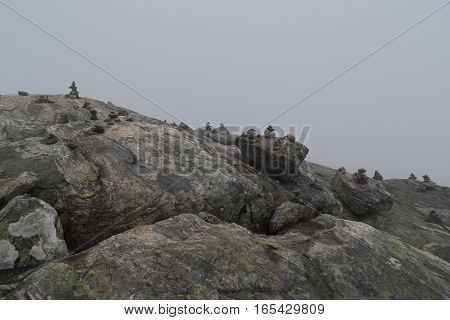 These are traces tourists visiting of Norway: symbolically stacked stones called the