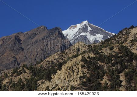 Landscape in the Manang valley Annapurna Conservation Area. Mount Chulu. View from Pisang.