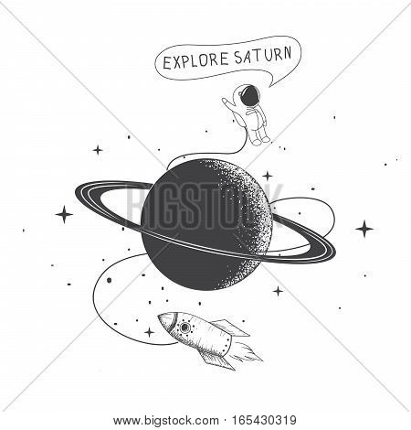 Funny spaceman exploring a Saturn.Childish vector illustration