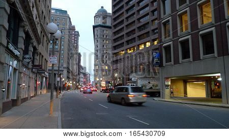 Boston Massachusetts USA - March 10 2016: Early morning quiet with only light traffic on Boston street