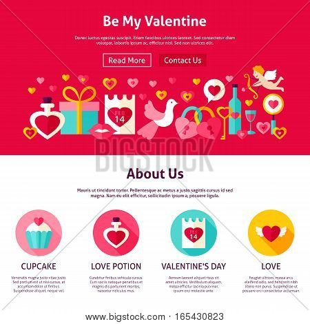 Be My Valentine Web Design. Flat Style Vector Illustration for Website Banner and Landing Page. Love Holiday.