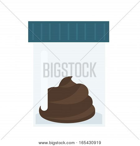 Medical test. Feces turd poop in plastic container. Vector icon. Analysis vector illustration