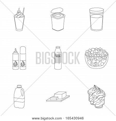 Milk product and sweet set icons in outline design. Big collection of milk product and sweet vector symbol stock illustration