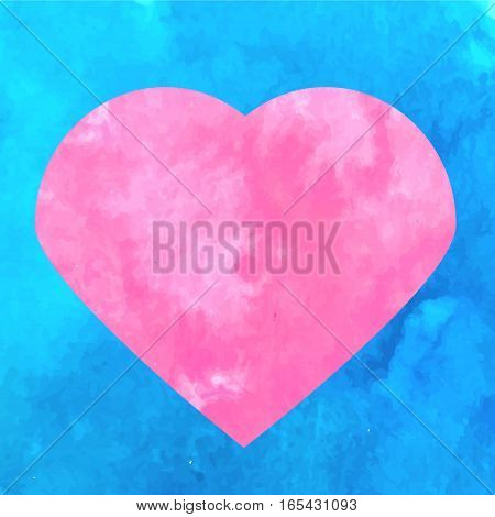 Artistic pink heart symbol on blue watercolor texture background. Vector illustration. Concept design template for romantic love St Valentine's day background banner flyer promotion