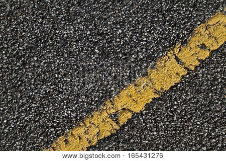Black Asphalt Road With Yellow Dividing Line
