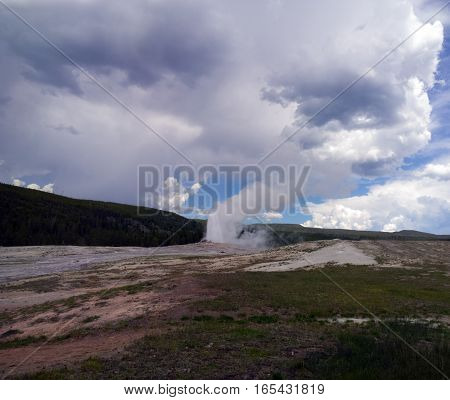 Old Faithful at Yellowstone National Park in eruption
