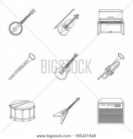 Musical instruments set icons in outline style. Big collection of musical instruments vector symbol stock